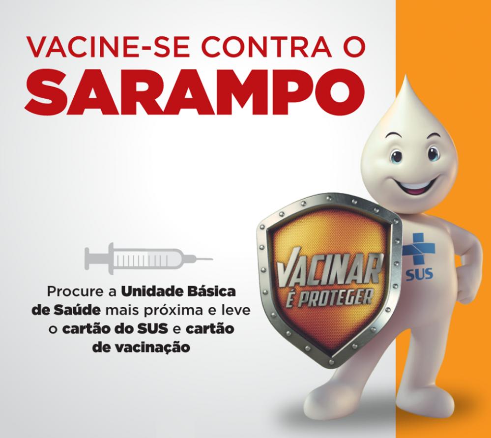 Campanha de vacinação contra sarampo para crianças de 6 meses a 5 anos.
